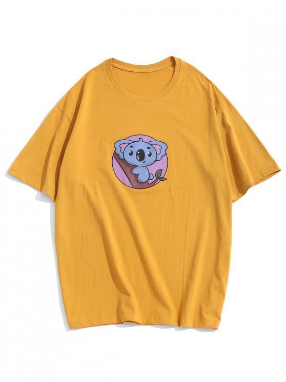 Basic Cartoon Animal Print T-shirt - Galben 3XL