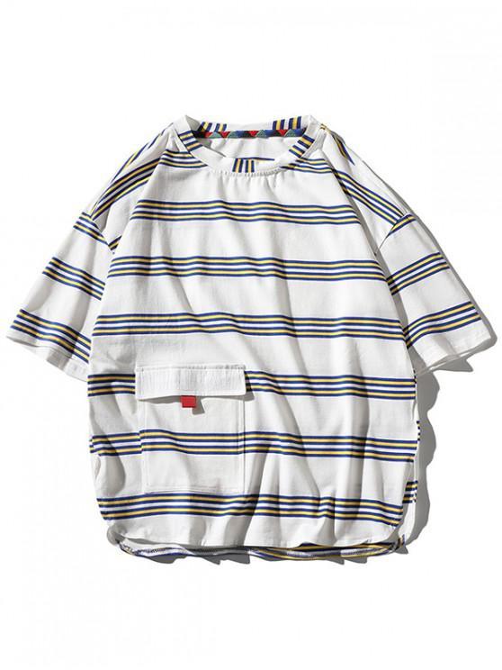 Striped Print Flap Pocket Slit T-shirt - أبيض L