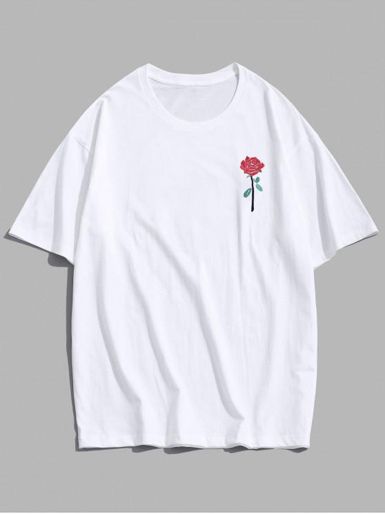 lady ZAFUL Rose Embroidery Short Sleeve T-shirt - WHITE S