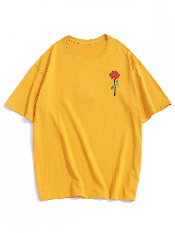 outfit ZAFUL Rose Embroidery Short Sleeve T-shirt - YELLOW S