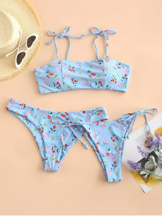 new ZAFUL Tie Shoulder Ditsy Floral String Three Piece Bikini Swimwear - LIGHT SKY BLUE L