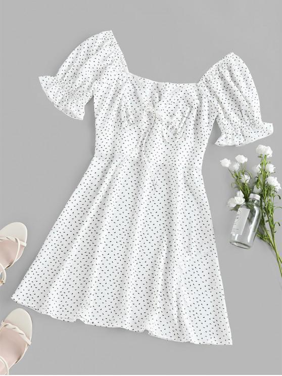 shop ZAFUL Printed Poet Sleeve Empire Waist Dress - WHITE L