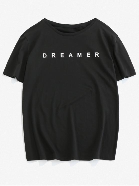 ZAFUL Letter Printed Round Neck T-shirt - أسود 2XL