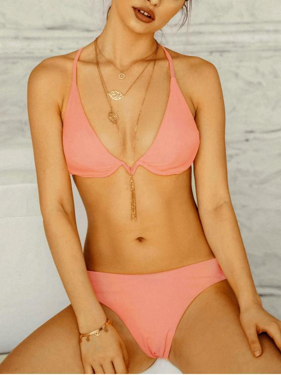 shop ZAFUL Crisscross Tie Underwire Bikini Swimsuit - ORANGE PINK S