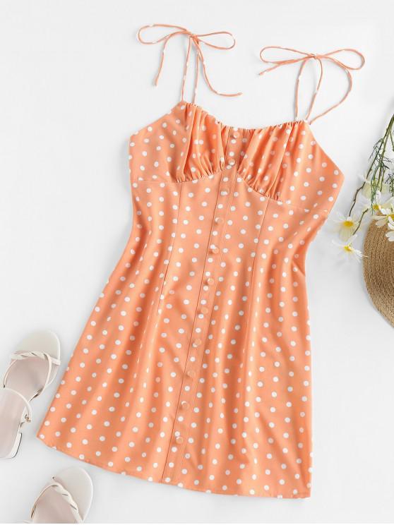 ZAFUL Vestido de Sol de Lunares con Nudo de Lazo - Naranja S