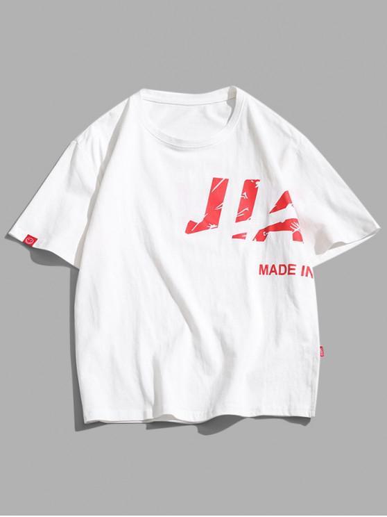 Letter Graphic Short Sleeve T Shirt - أبيض XS