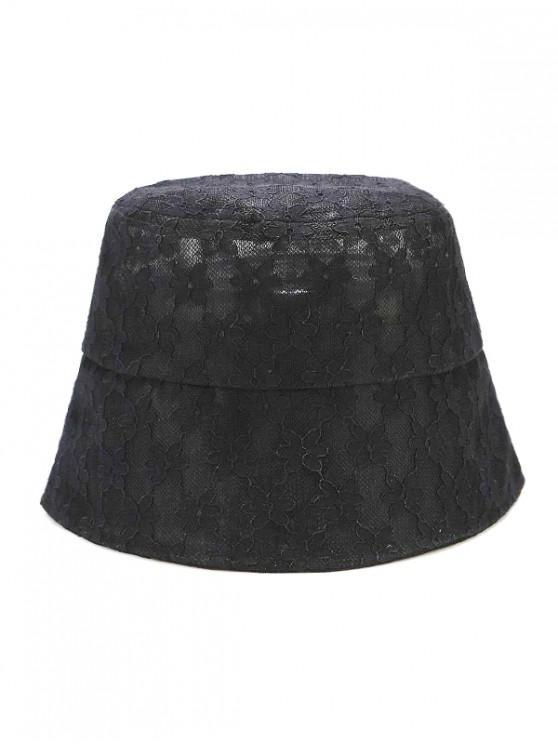 ladies Lace Floral Sun Hat - BLACK
