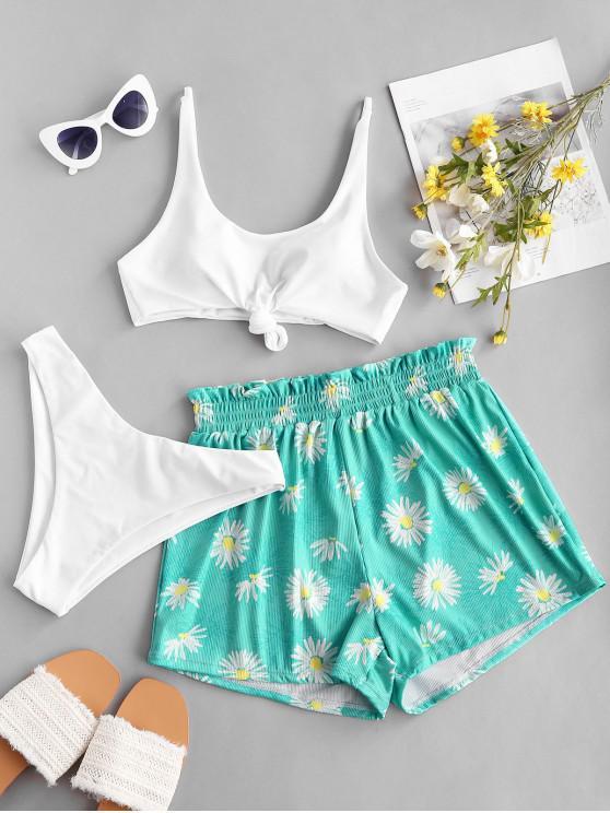 new ZAFUL Ribbed Knot Sunflower Three Piece Bikini Swimsuit - WHITE S