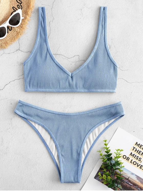 hot ZAFUL Textured Ribbed Bikini Swimsuit - LIGHT BLUE S