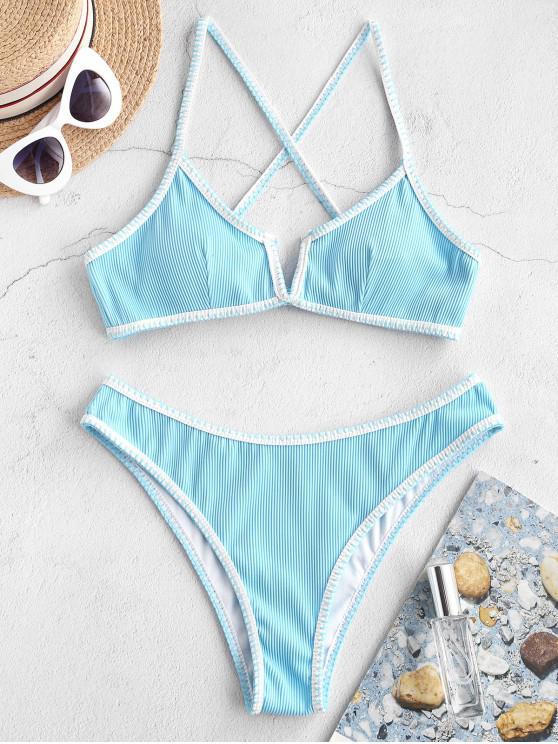 ZAFUL Whip Stitch V-fir Ribbed Bikini Swimsuit - Tron Blue M