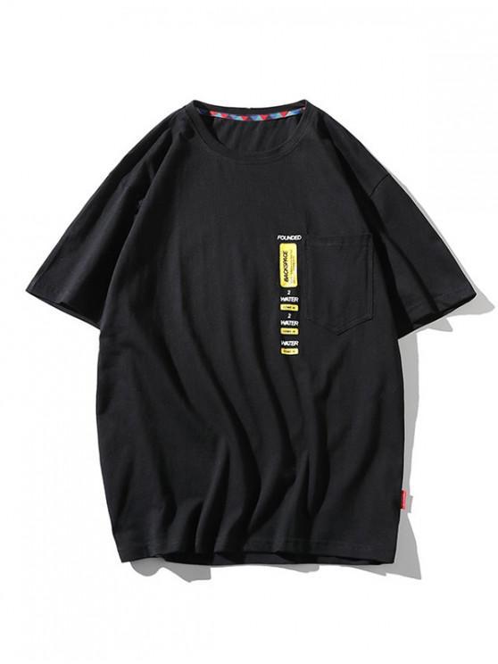 T-Shirtde BaseImprimé Lettre avec Poche - Noir 2XL