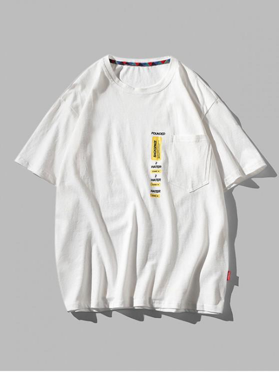 online Letter Print Pocket Patch Basic T-shirt - WHITE 3XL