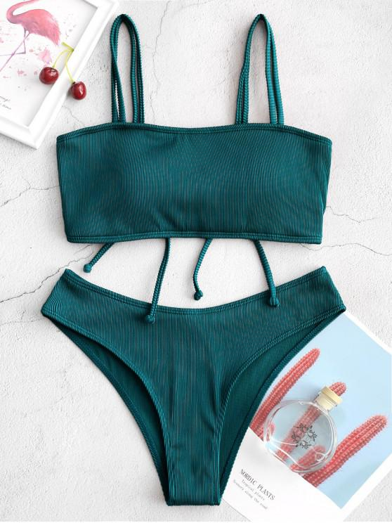 chic ZAFUL Cinched Textured Ribbed Bikini Swimsuit - PEACOCK BLUE L