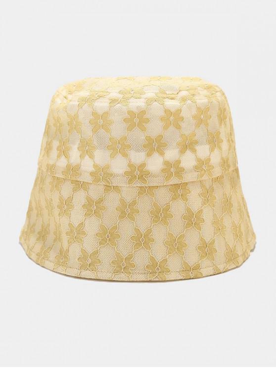 fashion Lace Floral Sun Hat - YELLOW