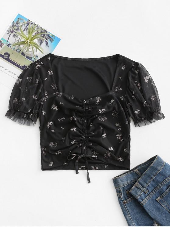 affordable Ditsy Floral Cinched Front Mesh Blouse - BLACK S