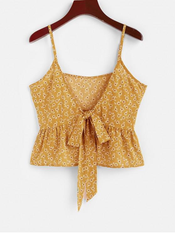 fashion ZAFUL Ditsy Print Bowknot Peplum Camisole - YELLOW XL