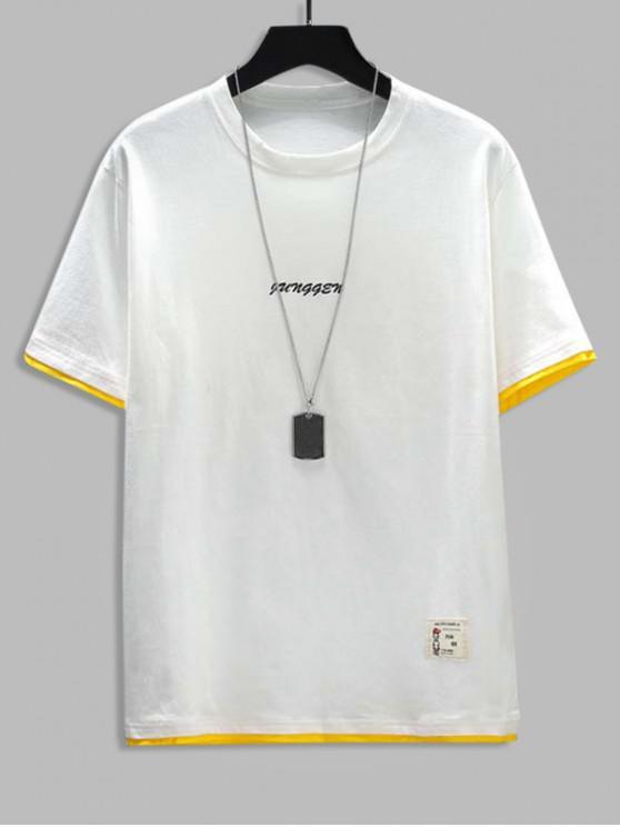 Letter Print 2fer Applique T-shirt - أبيض XS