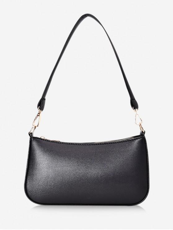 outfits Solid Rectangle Shoulder Bag - BLACK