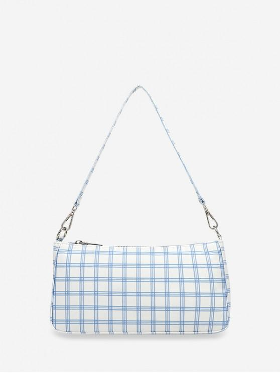 outfit Grid Print One Shoulder Bag - WHITE