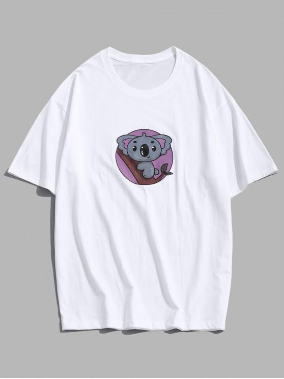 Basic Cartoon Animal Print T-shirt - أبيض M