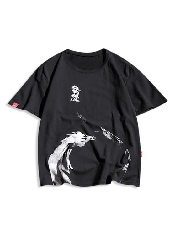 中国のグラフィックTシャツペイント - ブラック L