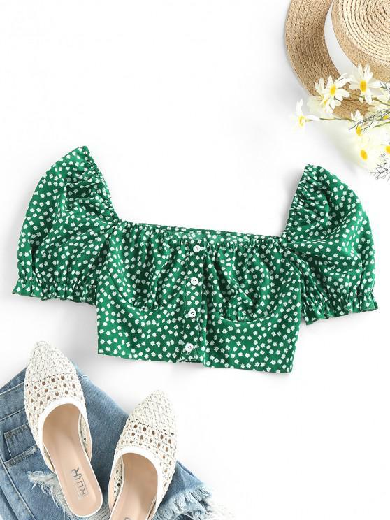 ZAFUL Ditsy Print Ruffle Button Up Cupped Crop Blouse - الغابة الخضراء L