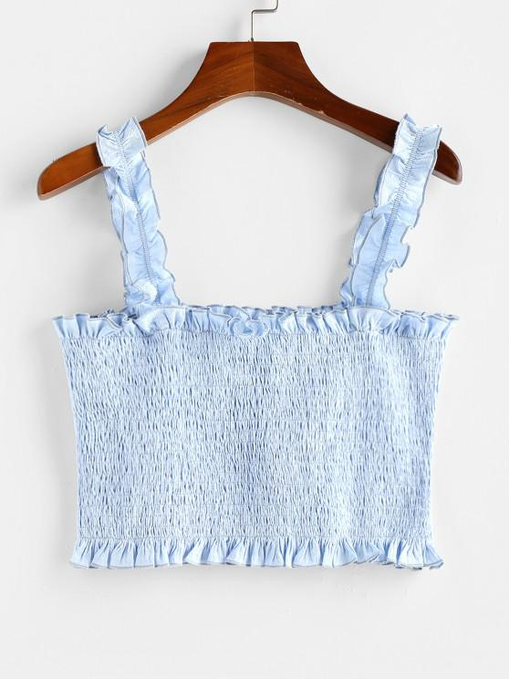 ZAFUL Smocked Lettuce Trim Crop Tank Top - جينز ازرق M