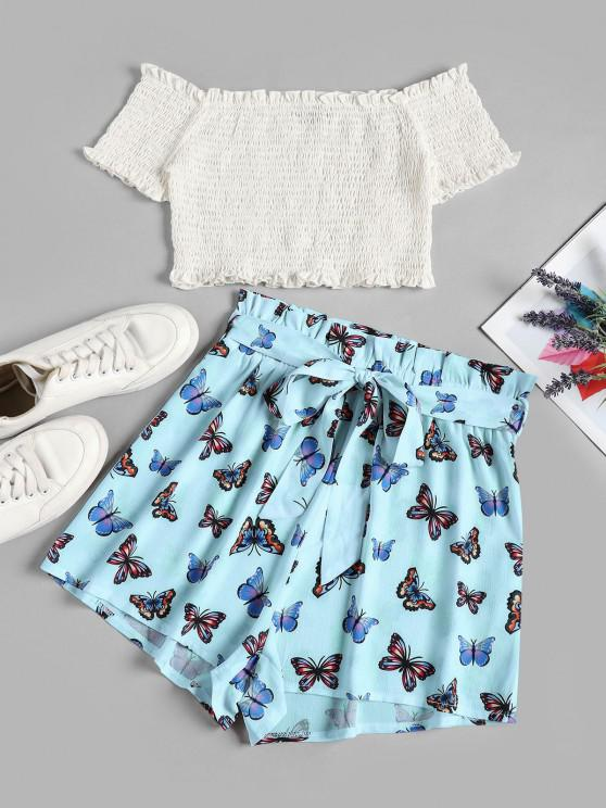 shop ZAFUL Off Shoulder Smocked Butterfly Print Two Piece Set - DAY SKY BLUE XL