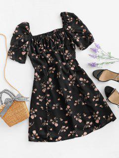 Tie Collar Rose Floral Smocked Back Milkmaid Dress - Black M