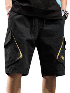 Casual Letter Pattern Pocket Shorts - Black 3xl