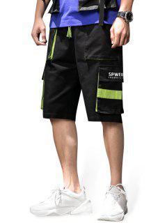 Letter Print Pocket Decorated Shorts - Black 2xl