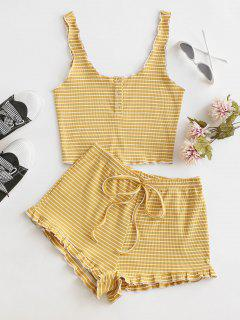 Ribbed Striped Snap Button Ruffle Shorts Set - Sun Yellow M