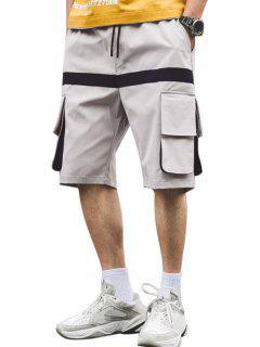 Letter Pattern Pocket Decorated Shorts - Platinum 2xl