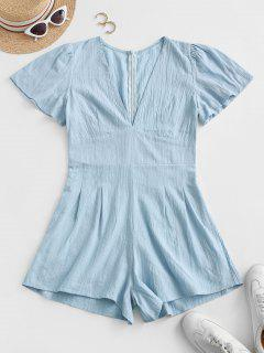 V Neck Back Zipper Shadow Stripes Romper - Blue Koi L
