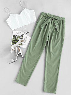 ZAFUL Cami Crop Top With Pants Two Piece Set - Light Green L