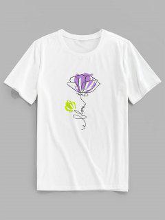 ZAFUL T-shirt Fleur Imprimée à Manches Courtes - Blanc 2xl