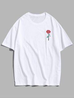 ZAFUL Rose Embroidery Short Sleeve T-shirt - White L