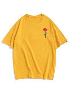 ZAFUL Rose Embroidery Short Sleeve T-shirt - Yellow Xl