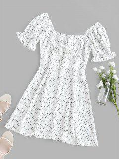 ZAFUL Printed Poet Sleeve Empire Waist Dress - White M