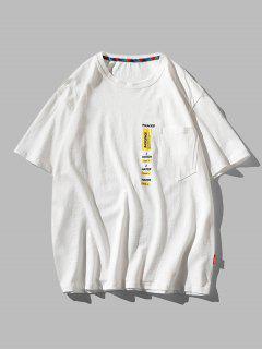 Letter Print Pocket Patch Basic T-shirt - White 3xl