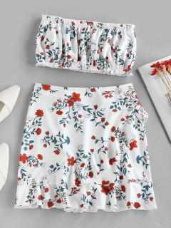 ZAFUL Flower Print Strapless Ruffle Knee Length Skirt Set - White M