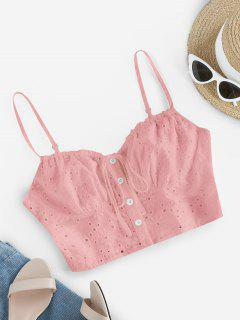 ZAFUL Broderie Anglaise Eyelet Tie Cami Top - Pink S