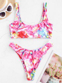 Bikini Di Tie-Dye Di ZAFUL A Taglio Alto - Multi Colori-b M