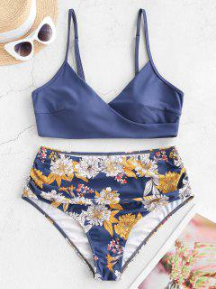 Floral Side Boning Ruched Surplice Plus Size Bikini Swimsuit - Blue 2xl
