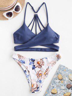 ZAFUL Blumen Riemchen Wickel Bikini Badebekleidung - Blaue Koifisch S