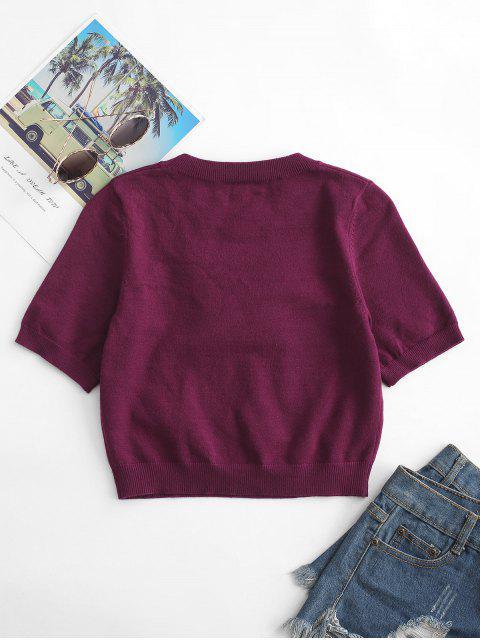 Camiseta Felpuda de Tricô com Gola Redonda - Torta de Ameixa S Mobile