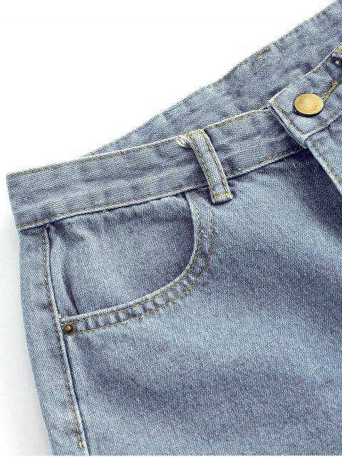 Shorts de Denim con Corte de Dobladillo con Bolsillos - Azul claro L Mobile