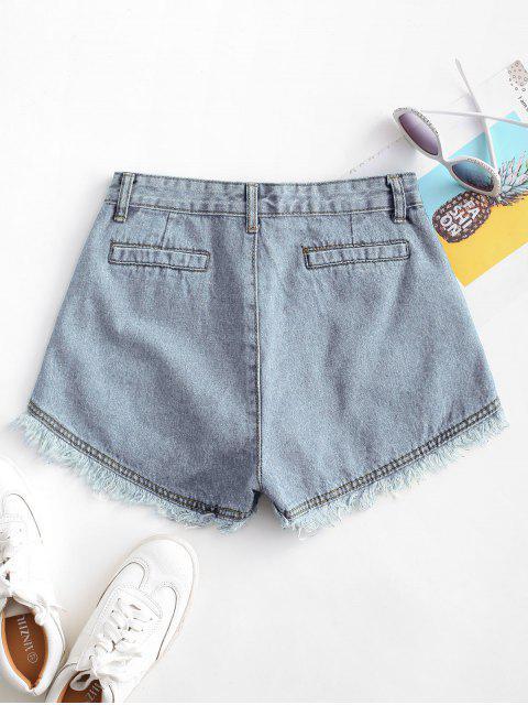 chic Pockets Frayed Hem Denim Cutoff Shorts - LIGHT BLUE XL Mobile