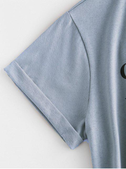 ZAFUL Chrysonフォームグラフィック定番Tシャツ - ライトスカイブルー XL Mobile