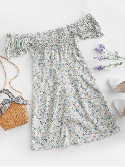unique Button Up Puff Sleeve Ditsy Floral Dress - MULTI-A L Mobile